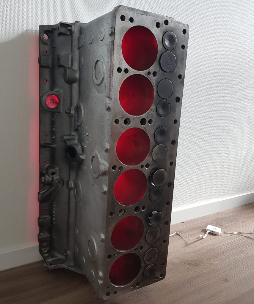 Engine block wine rack